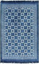 Alfombra de algodon Kilim con estampado azul