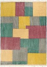 Alfombra de algodón Kilim estamapado multicolor