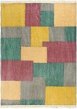 Alfombra de algodon Kilim estamapado multicolor