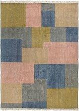 Alfombra de algodón Kilim estampado multicolor