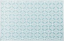 Alfombra de exterior azul con motivos decorativos