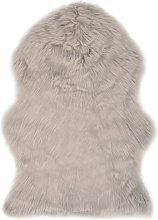 Alfombra de piel de oveja sintética gris claro