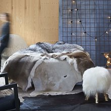 Alfombra de piel de vaca autentica marron y blanco
