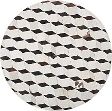 Alfombra de piel patchwork blanca redonda ø140 cm