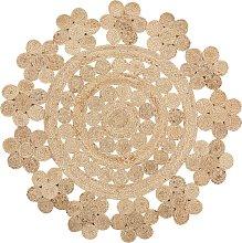 Alfombra de yute redonda beige ø120 cm BIRECIK