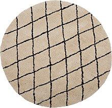 Alfombra en beige/negro redonda ø140 cm MIDYAT