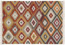Alfombra kilim tejida a la mano en lana y algodón