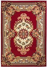 Alfombra oriental con estampado persa rojo/beige