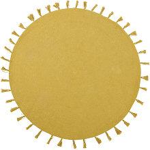 Alfombra redonda de algodón amarillo mostaza con