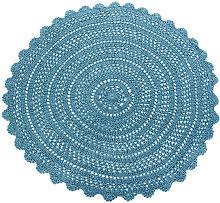 Alfombra redonda de algodón azul de ganchillo D.