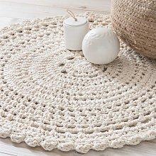 Alfombra redonda de algodón color crudo D.90 cm
