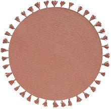 Alfombra redonda de algodón rosa con pompones D.