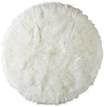 Alfombra redonda de imitación a piel blanca D.140