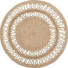 Alfombra redonda de yute beige ø120 cm DIKILI