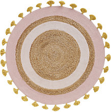 Alfombra redonda de yute trenzado y algodón con
