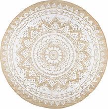 Alfombra redonda de yute y algodón blanco D.180