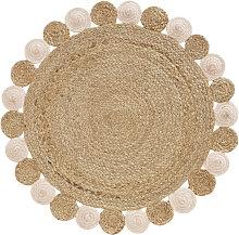 Alfombra redonda de yute y algodón rosa y beige