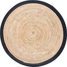 Alfombra redonda trenzada de yute con contorno
