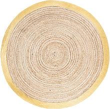 Alfombra redonda trenzada de yute y algodón con