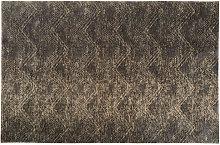 Alfombra tejida de jacquard marrón 155x230