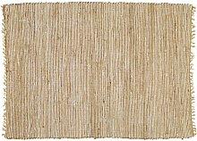 Alfombra trenzada de algodón y yute 140x200