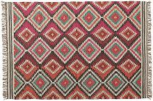 Alfombra trenzada de lana de colores 140 x 200cm