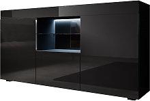 Aparador 2 puertas 1 Vitrina 1 cajón – Negro