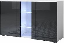 Aparador 2 puertas 1 vitrina – Blanco y Negro