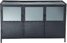 Aparador industrial con vitrina de metal negro An.