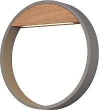 Aplique exterior 12W gris y madera Ø 32 cm CYCLE