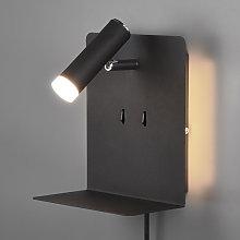 Aplique LED Element con estante negro mate