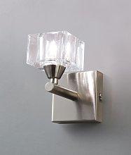 Aplique pequeño níquel cristal CUADRAX 1 luz