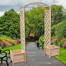 Arco de rosas con jardinera rejilla enrejado arco