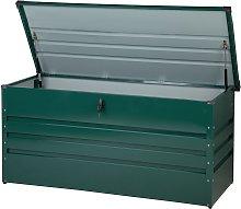 Arcón para exterior verde oscuro 132 x 62 cm