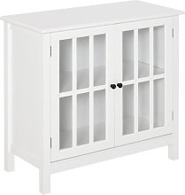 Armario con dos puertas de vidrio blanco HomCom