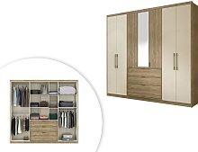 Armario con espejo SELMA - 7 puertas y 3 cajones -