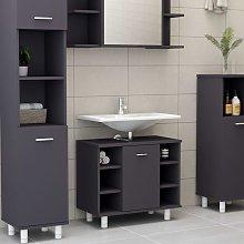 Armario cuarto de baño aglomerado gris 60x32x53,5