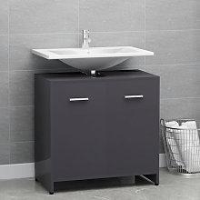 Armario cuarto de bano aglomerado gris brillante