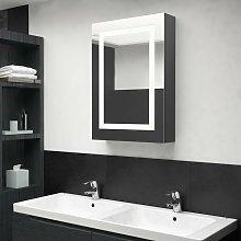 Armario de bano con espejo LED gris 50x13x70 cm