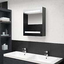 Armario de bano con espejo LED gris 50x14x60 cm