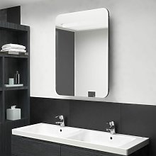 Armario de baño con espejo LED gris 60x11x80 cm