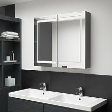 Armario de baño con espejo LED gris 80x12x68 cm -