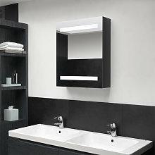 Armario de bano con espejo LED negro brillante