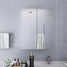 Armario de espejo de bano MDF blanco 60x15x75 cm