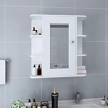 Armario de espejo de baño MDF blanco 66x17x63 cm