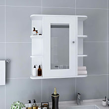 Armario de espejo de bano MDF blanco 66x17x63 cm