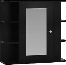 Armario de espejo de baño MDF negro 66x17x63 cm -