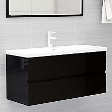 Armario de Lavabo: Negro Brillante Mueble con