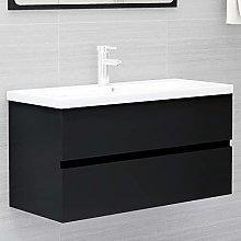 Armario de Lavabo: Negro Mueble con Lavabo