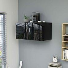 Armario de pared aglomerado negro brillante